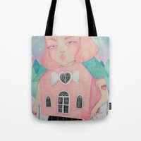 loll3 Tote Bags featuring Dollhouse by lOll3