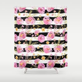 Delicate Poppy Pattern On Stripes 2 Shower Curtain
