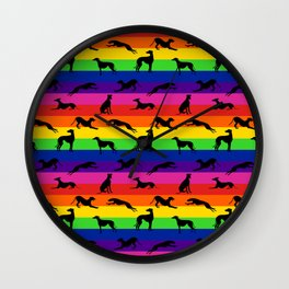 Greyhound Silhouettes on Horizontal Rainbow Stripes Wall Clock