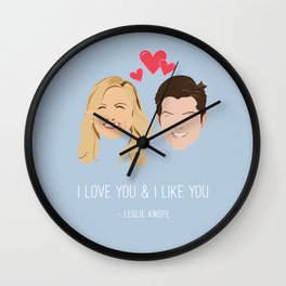 Leslie Knope Loves Ben Wyatt Wall Clock