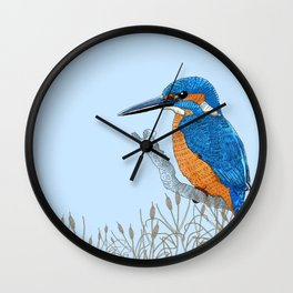 Kingfisher in reeds Wall Clock