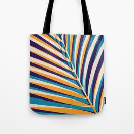 Gold and Navy Abstract Palm Frond Tote Bag