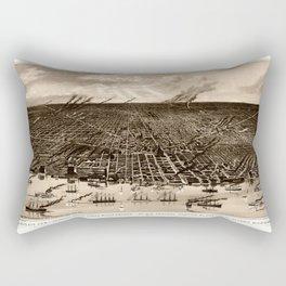 Detroit Michigan Bird's Eye Map Rectangular Pillow