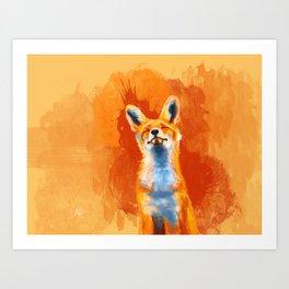 Happy Fox on an orange background Art Print