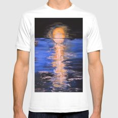 super moon White Mens Fitted Tee MEDIUM