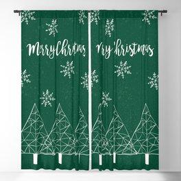 Merry Christmas Green Blackout Curtain