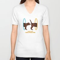 aperture V-neck T-shirts featuring Aperture Science - Canine Aptitude Testing by Record Makers
