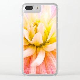 A summer Dahlia flower on wood texture Clear iPhone Case
