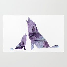 Howling Wolves Rug