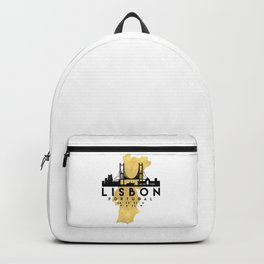 LISBON PORTUGAL SILHOUETTE SKYLINE MAP ART Backpack