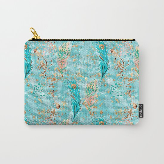Feather peacock peach mint #8 Carry-All Pouch