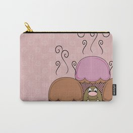 Cute Monster With Orange And Red Frosted Cupcakes Carry-All Pouch