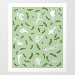 Cats And Cukes - Green Version Art Print