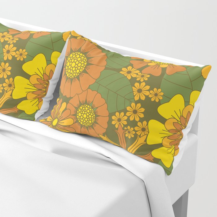 Orange, Brown, Yellow and Green Retro Daisy Pattern Pillow Sham