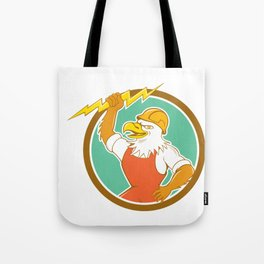 Bald Eagle Electrician Lightning Bolt Circle Cartoon Tote Bag