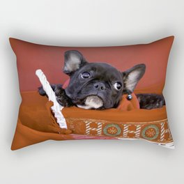 Licorice the Black Frenchie in Ho Ho Ho Christmas Basket Rectangular Pillow