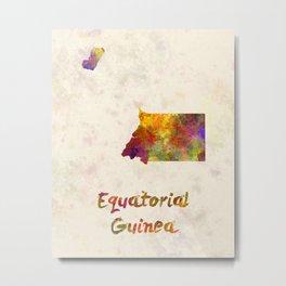Equatorial Guinea in watercolor Metal Print