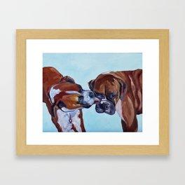 Kissing Boxers Dogs Portrait Framed Art Print