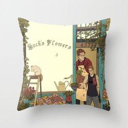 Buck's Flower Shop Throw Pillow