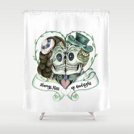 Skull Couple Always Kiss Me Goodnight Shower Curtain