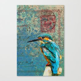 Vintage Bird Love Letters Canvas Print