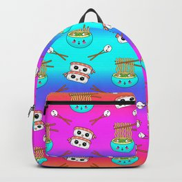 Cute funny Kawaii chibi little blue bowl ramen noodles, happy cheerful sushi with shrimp on top, rice balls and chopsticks rainbow blue pink pattern design. Nursery decor. Backpack