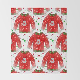 Ugly Christmas Sweater Pattern Throw Blanket
