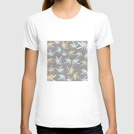 Leaves decor. brown. light-blue. yellow. T-shirt
