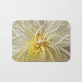 White and Yellow Peony Bath Mat