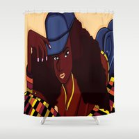 coco Shower Curtains featuring Coco by Courtney Ladybug Johnson
