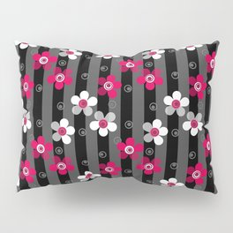 Crimson and white flowers on a black striped background Pillow Sham