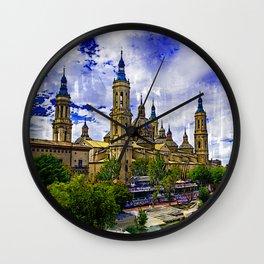 The Basilica de Nuestra Senora del Pilar and Ebro river in the City of Zaragoza (Saragossa), Aragon, Spain. Wall Clock