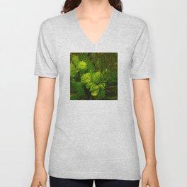 Green Hawaiian Succulents Unisex V-Neck