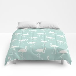 Flamingo Silhouettes, Pattern Of Flamingos - Blue Comforters