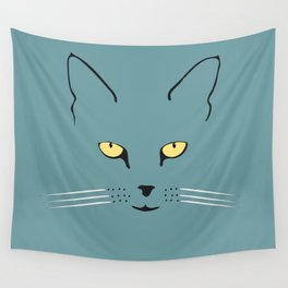 Cat with yellow eyes Wall Tapestry