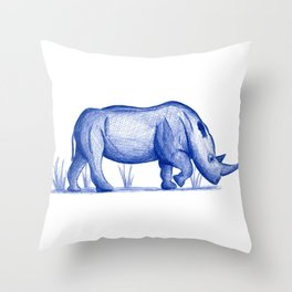 Save The Rhinos (50% of commissions are donated to the World Wildlife Fund) Throw Pillow