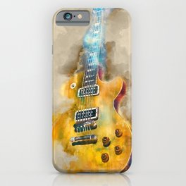 Vintage guitar art, watercolor iPhone Case