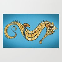 seahorse Area & Throw Rugs featuring Seahorse by Andreas Preis
