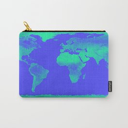 World Map Periwinkle Blue Mint Carry-All Pouch