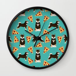 shiba inu pizza black and tan dog breed pet pattern dog mom Wall Clock