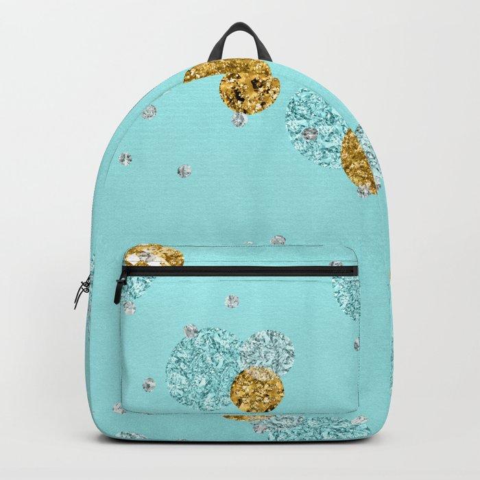 Treasures on aqua - Gold glitter polkadots on turquoise background Backpack