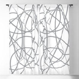 Curvy1Print Grey and White Blackout Curtain