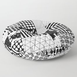Mosaic Contrast - Black and white, geometric design Floor Pillow