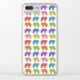 Colorful Parade of Elephants in Red, Orange, Yellow, Green, Blue, Purple and Pink Clear iPhone Case