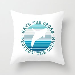 Save The Orcas Whales Protect The Ocean Snorkeling Adventure Sea Life Fish Dolphin Hawaii Throw Pillow
