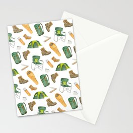Watercolor camping pattern Stationery Cards