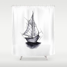 Sailboat Handmade Drawing, Art Sketch, Barca a Vela, Illustration Shower Curtain
