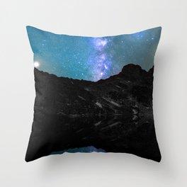 Milky Way Mountain Throw Pillow