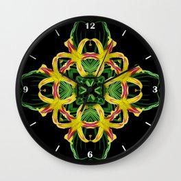 Daylily Mandala - Hemerocallis 'Free Wheelin' k7 Wall Clock