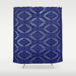 Modern Bohemian Cobalt Navy Glitter Ikat Pattern Shower Curtain